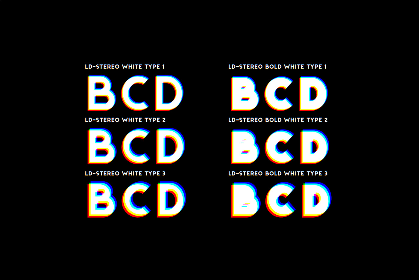 anaglyph color font modern otf svg Retro stereo svg font trend Typeface typography