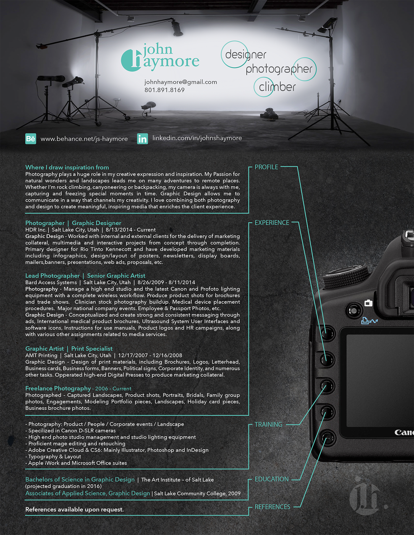 Photography Resume (personal) on Behance