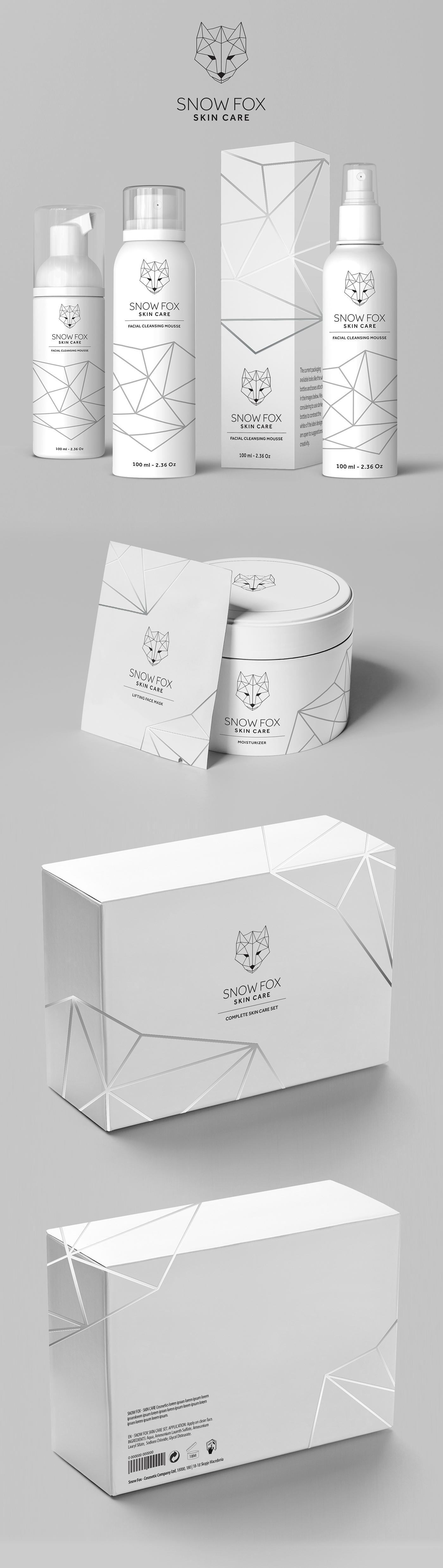 Polygonal logo design cosmetics product packaging FOX