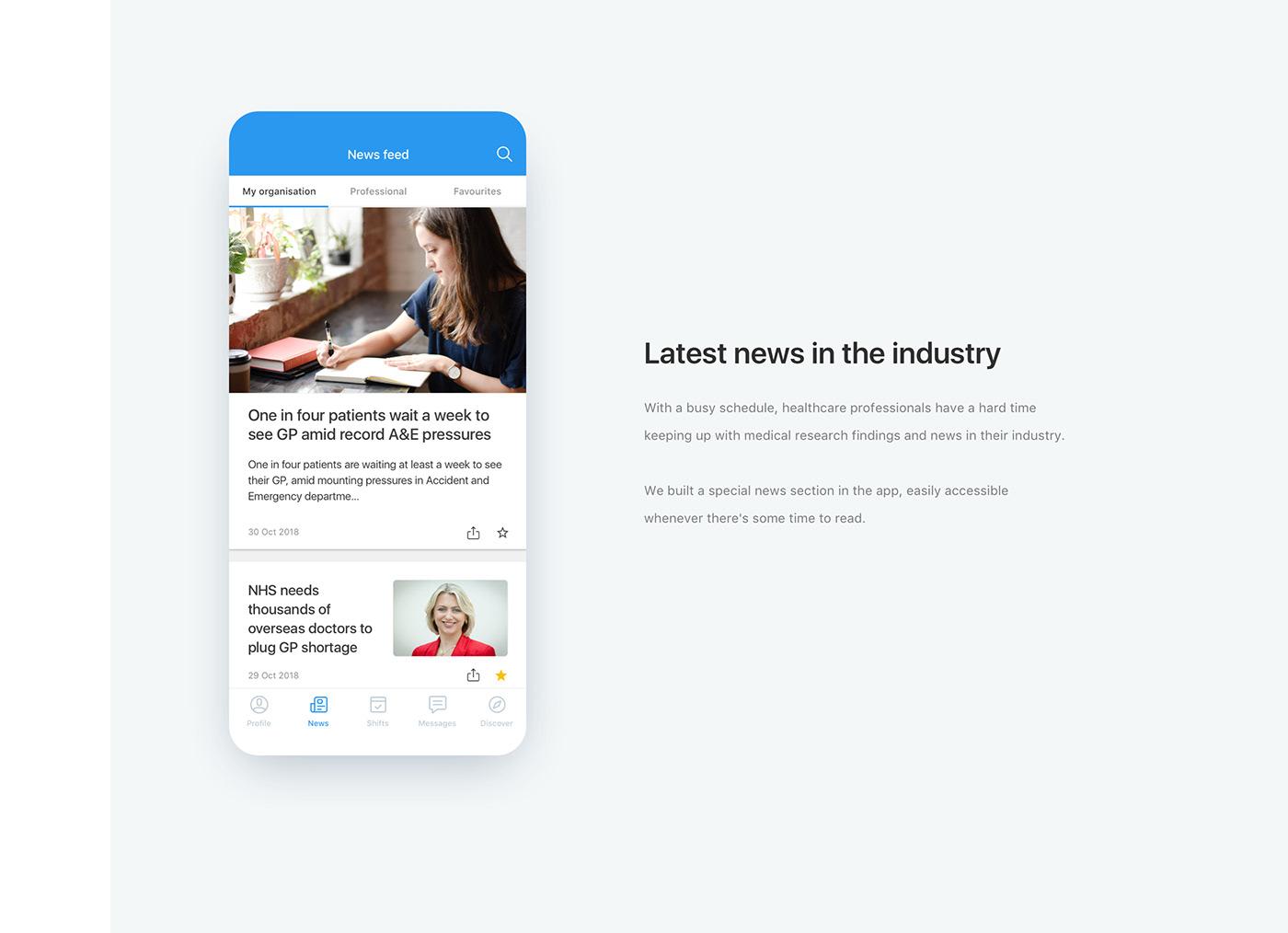 ios android healthcare ux/ui design nurse recruitment product design  mobile Booking Case Study
