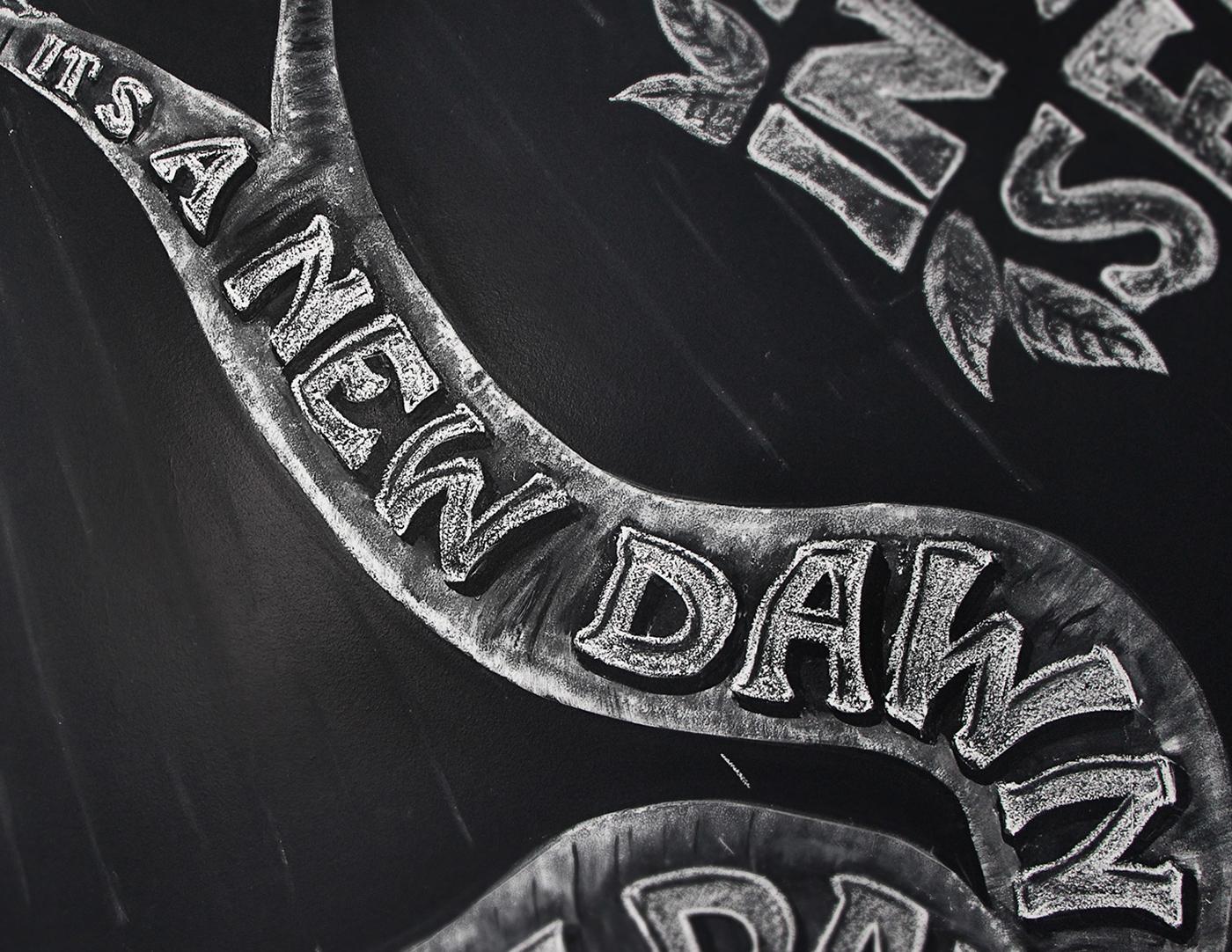 birds black chalk Good handmade happy lettering Mural nina simone ornament song Tree  tupe White