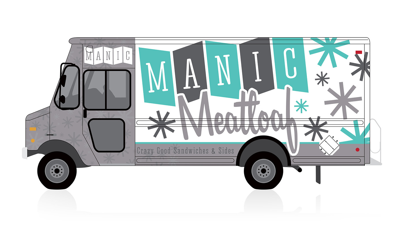 Food truck logo truck wrap concept manic meatloaf on for Design your own food truck online