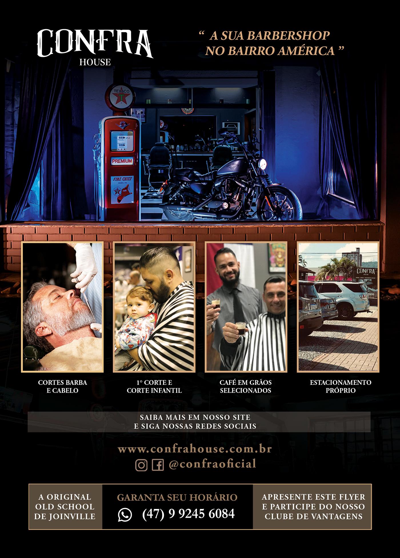 barbearia barber CONFRA flyer panfleto