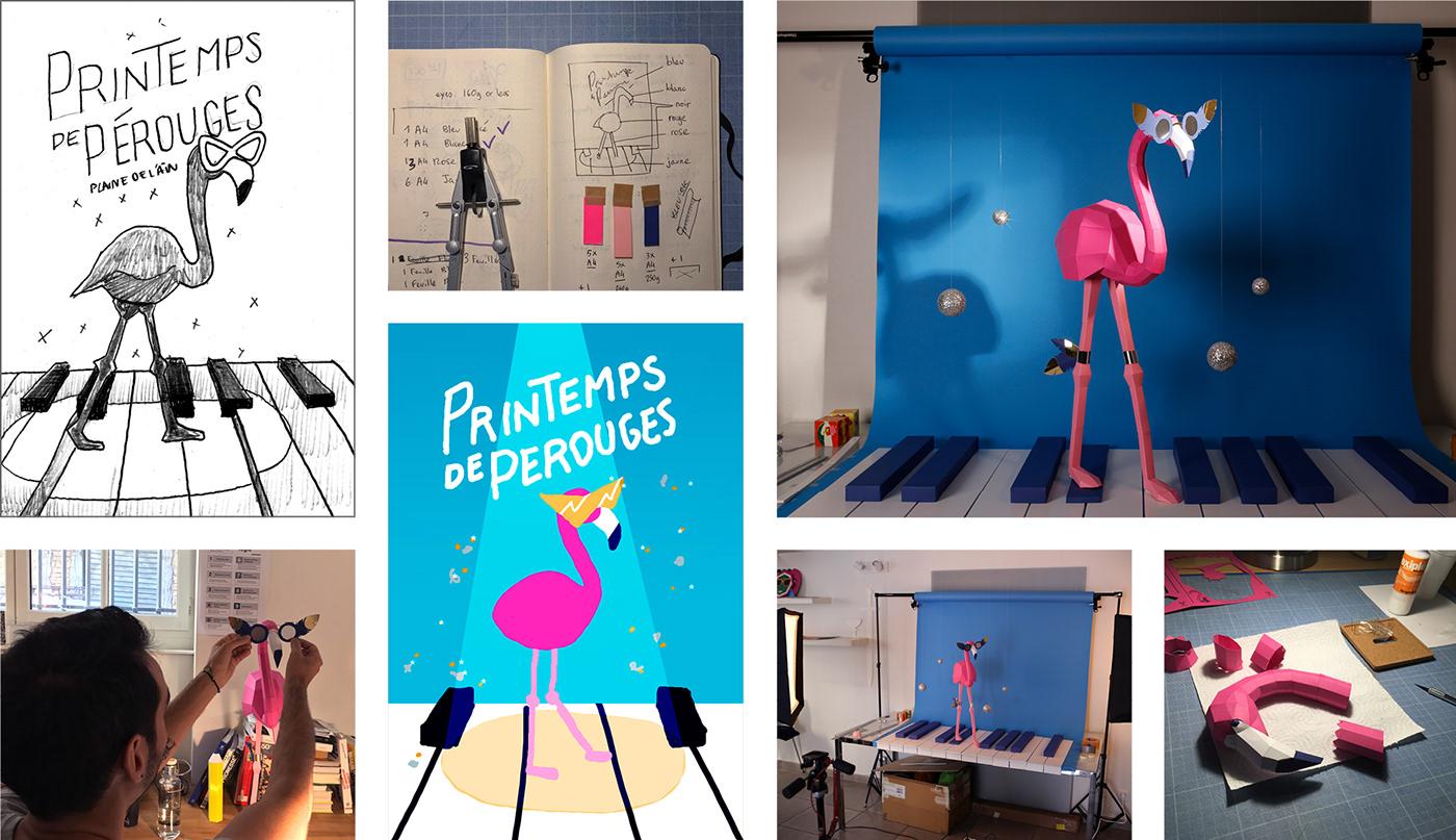 festival flamingo pink poster music pop paper-art craft design