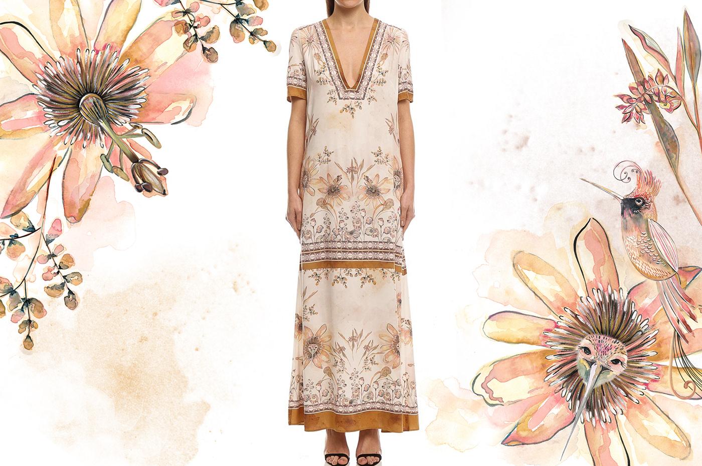 Aqueralle art Fashion  flower marcas moda summer textile textiledesign watercolour