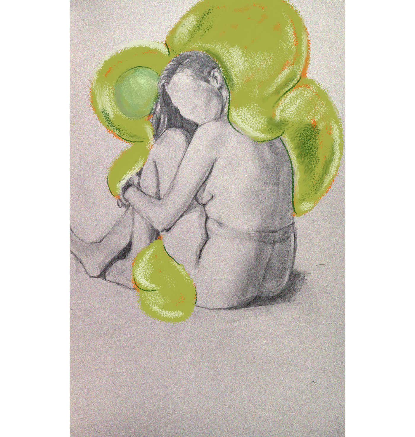 composition digital painting green mental health monster nude portrait woman