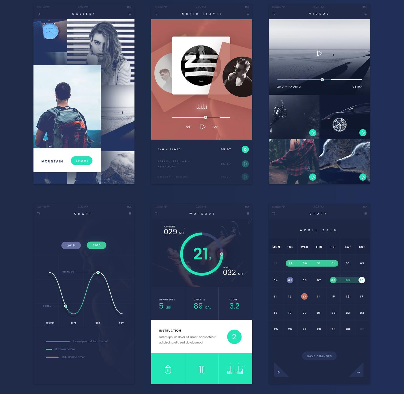 app,ios,design,ui kit,freebie,dark,elegant,flat,deep blue,green,orange,Mockup,prototype