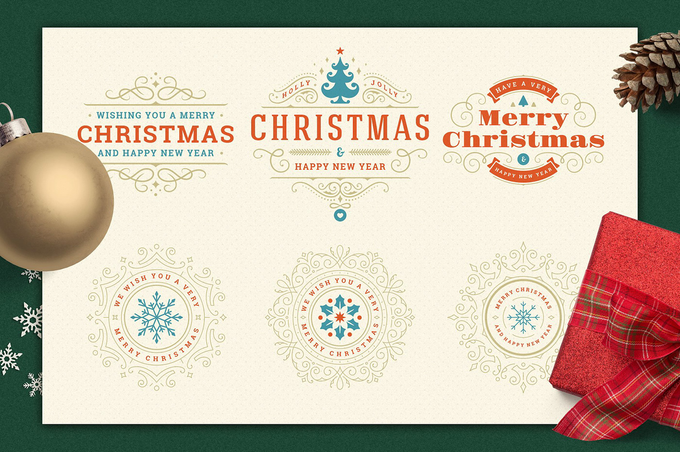 Christmas Retro Design Bundle on Behance