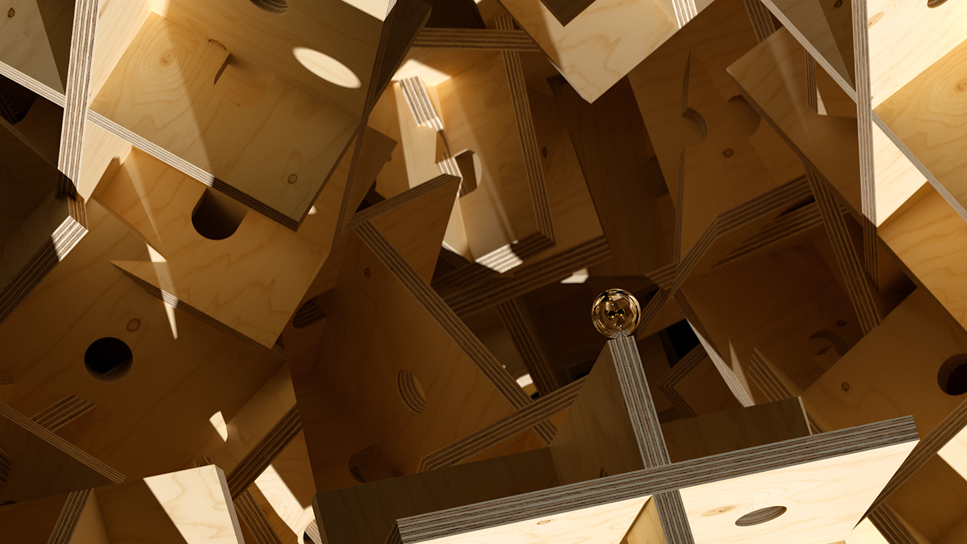 Space  octane wood abstract 3D Render trip Void