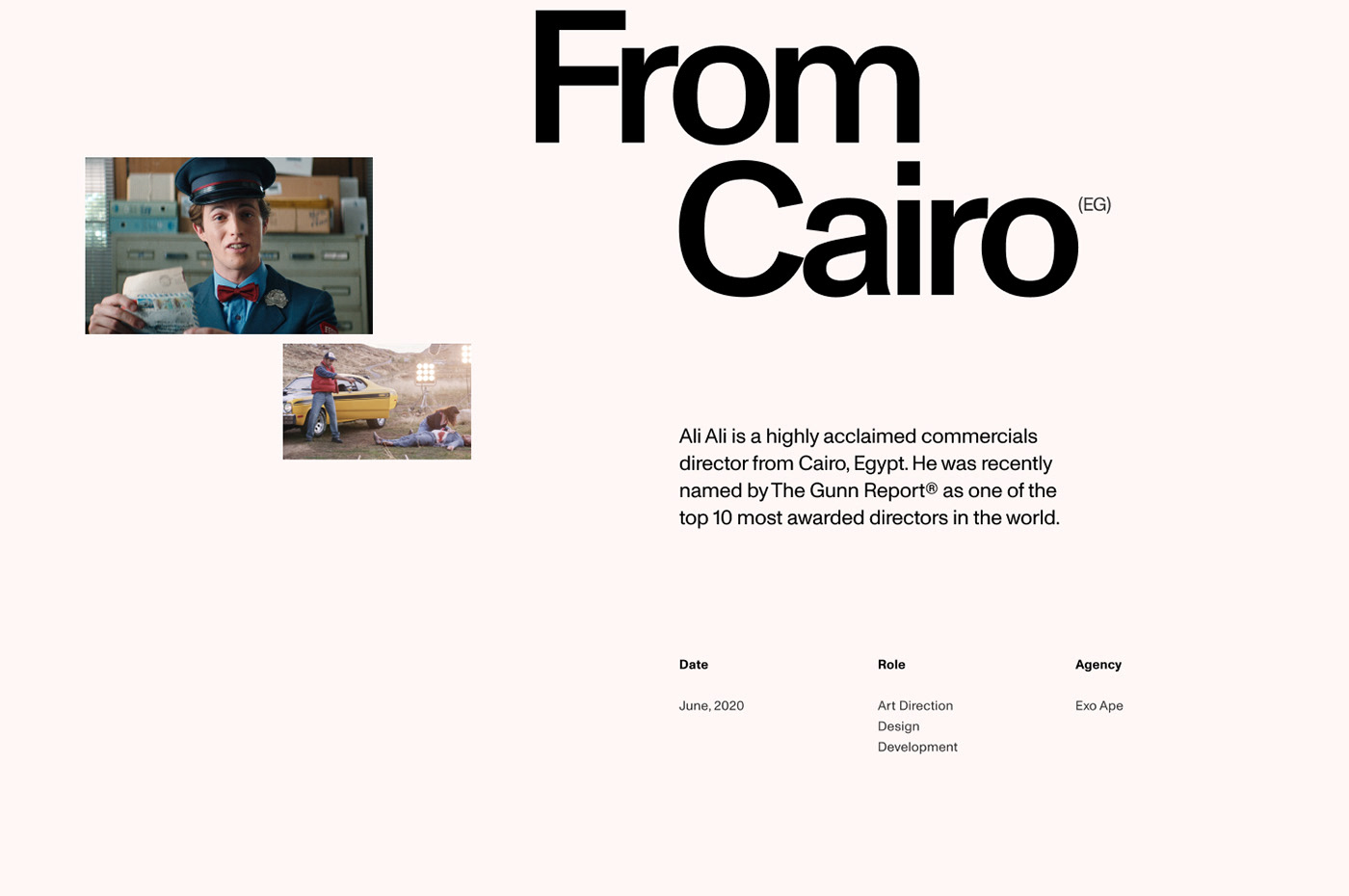 short introduction about commercial director Ali Ali from Cairo, Egypt.