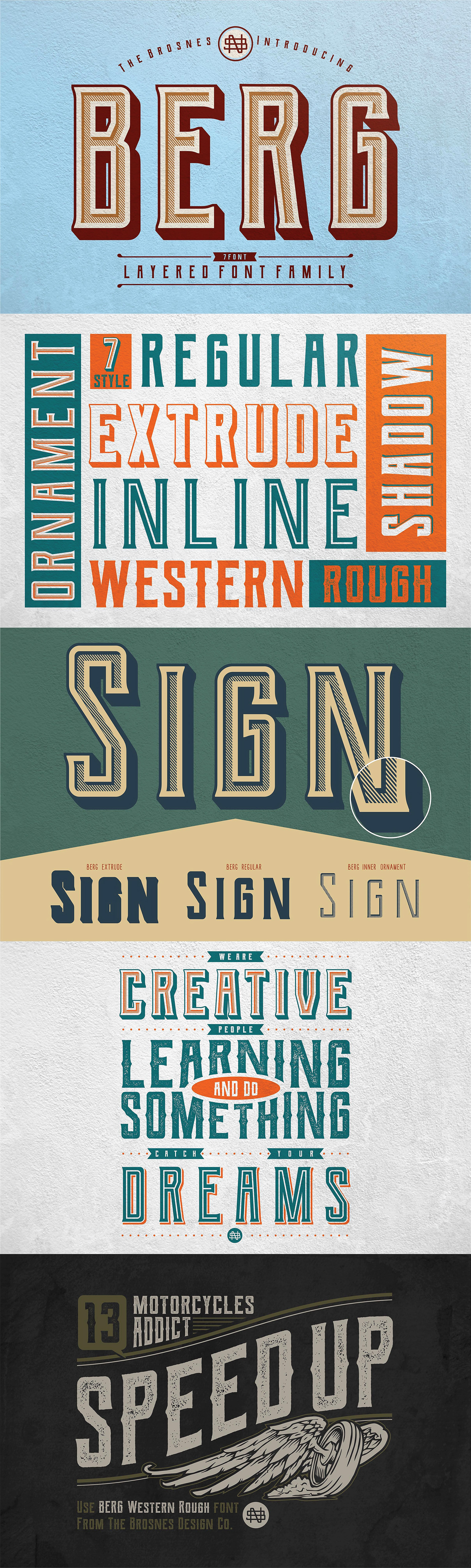 Berg Is A Huge Layered Font Family From Brosnes Inspired By Vintage Sign Painting Posters And Labels Has Strong Shapes That Are Very Attention