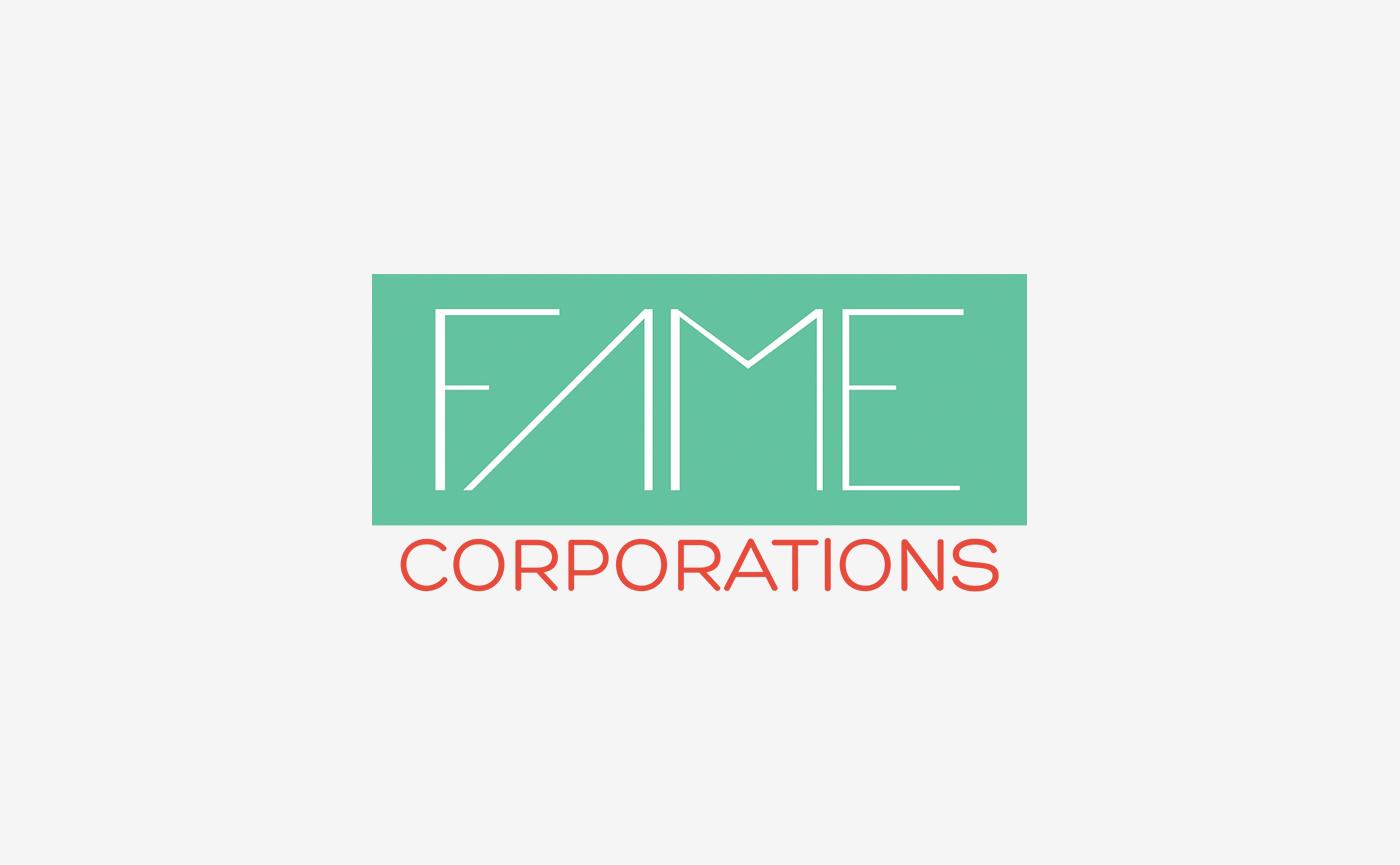 fame logo orange green