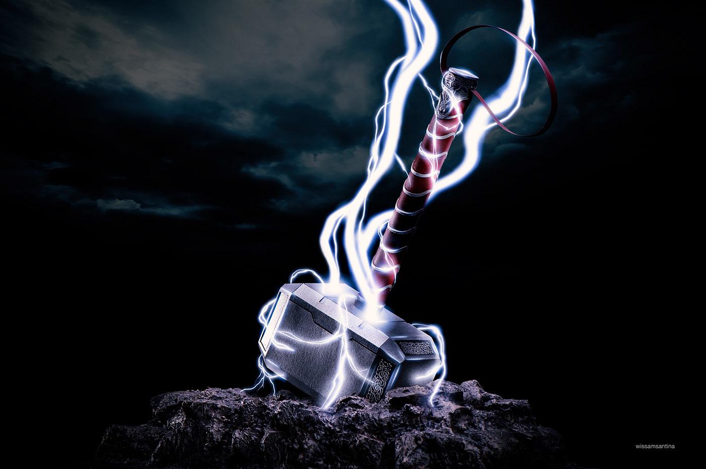 craft,Diorama,hammer,Hero,marvel,Mjolnir,power,rocks,Thor,thunder