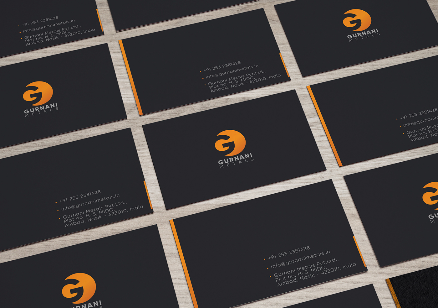 Gurnani Metals,metals,branding ,Engineering branding,black,business card,Stationery,Startup Farms