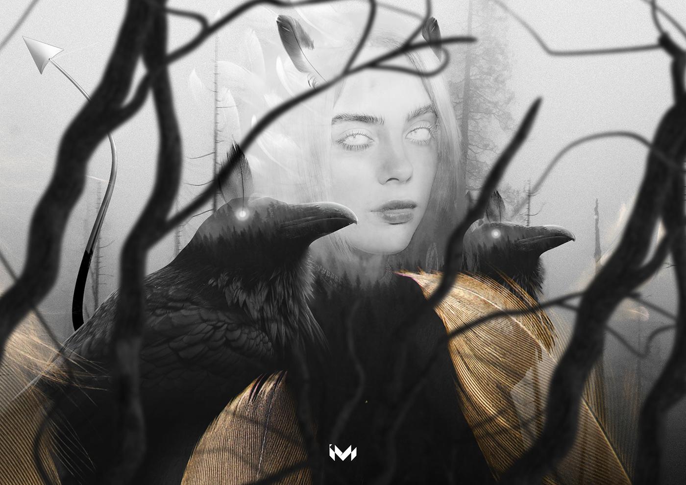 Album art Billie Eilish black cover design graphic photoshop poster White