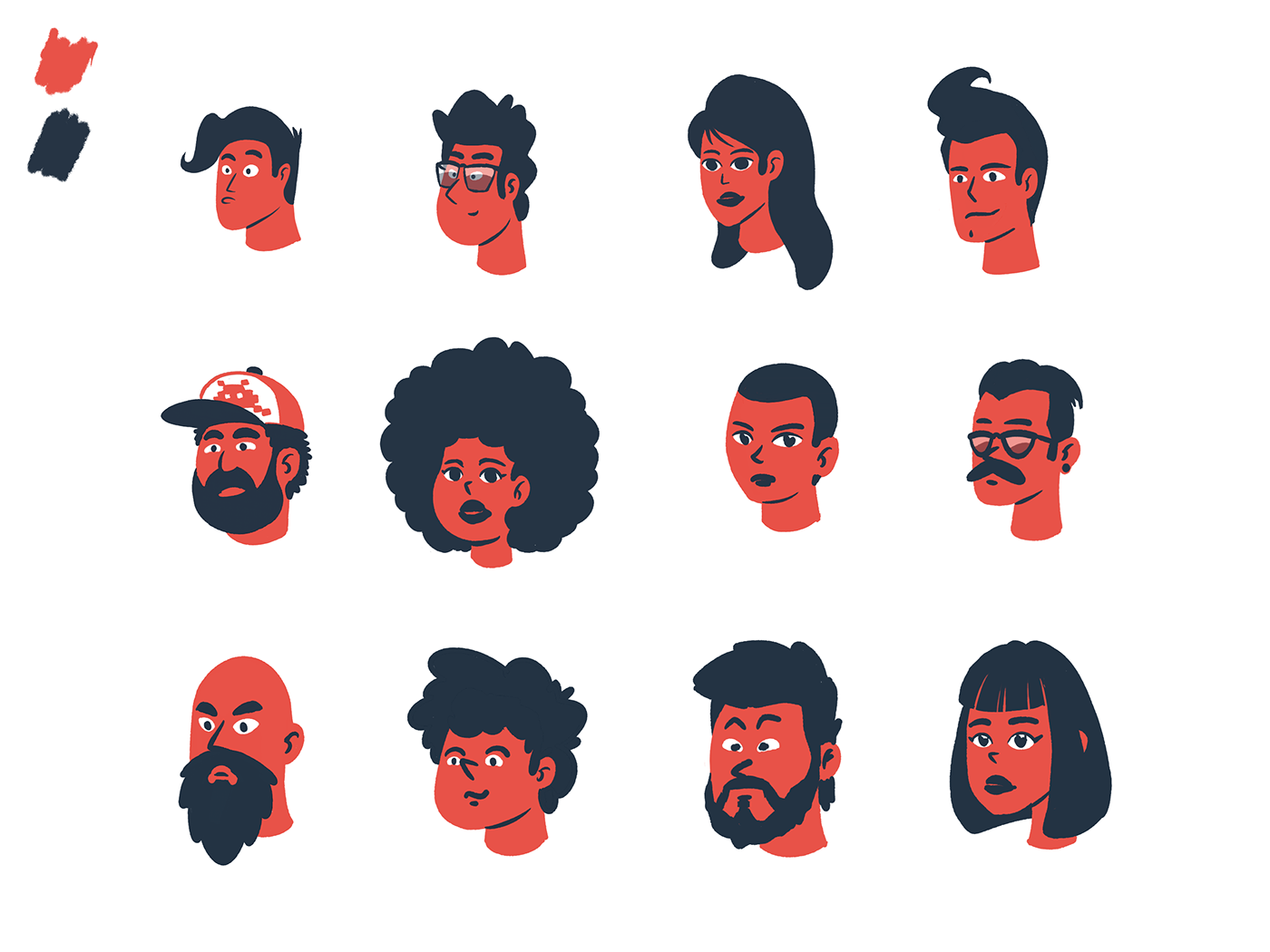 Character Design Colour Palette : Character design with limited palette on behance