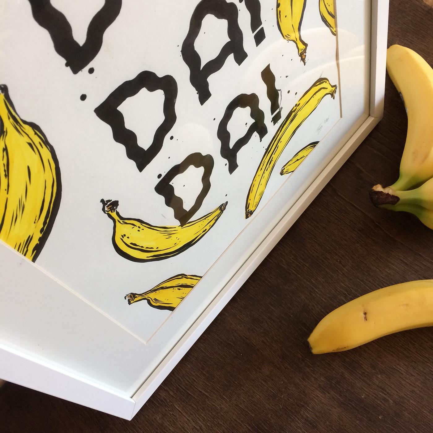 Bananas Fruit yellow brushpen fudepen Handlettering lettering poster posterdesign type