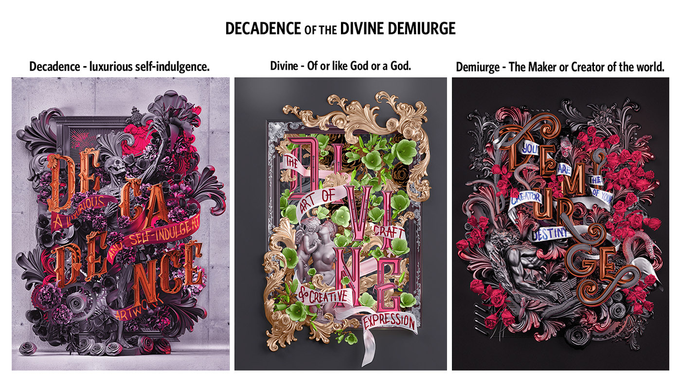 Decadence skull STEAMPUNK 3D typography Layout details
