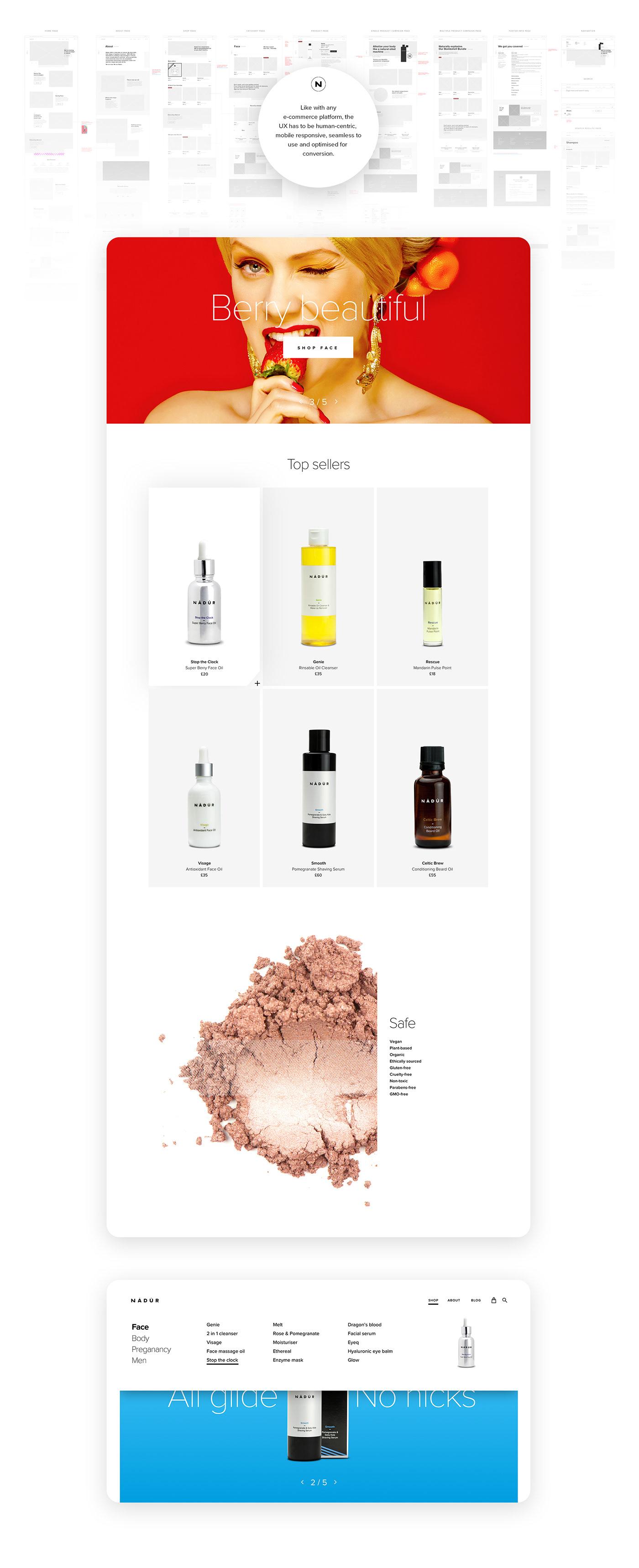 branding  Ecommerce luxury Responsive skincare ui design UX design visual design Web Design