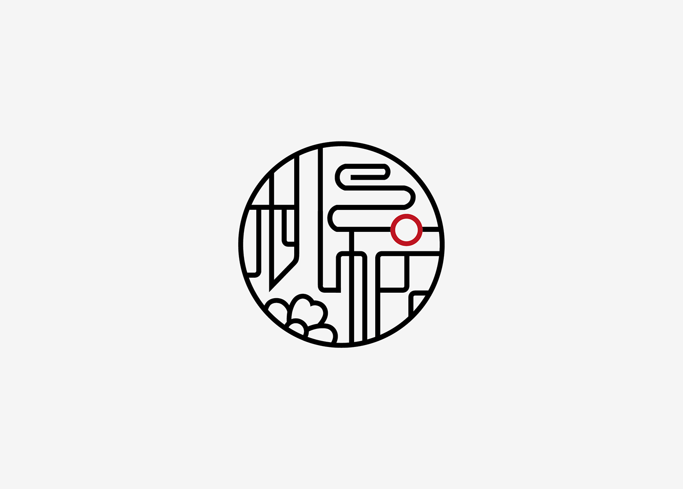 Chinese style logo on behance the red dot in the middle of the character fu represents the rising sun brings energy hope and life together with the floating clouds and peach buycottarizona