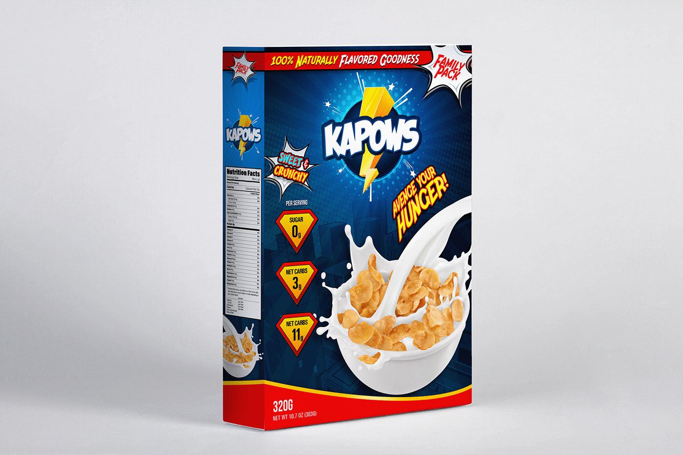box design branding  Cereal comic Logo Design package design  Packaging SuperHero