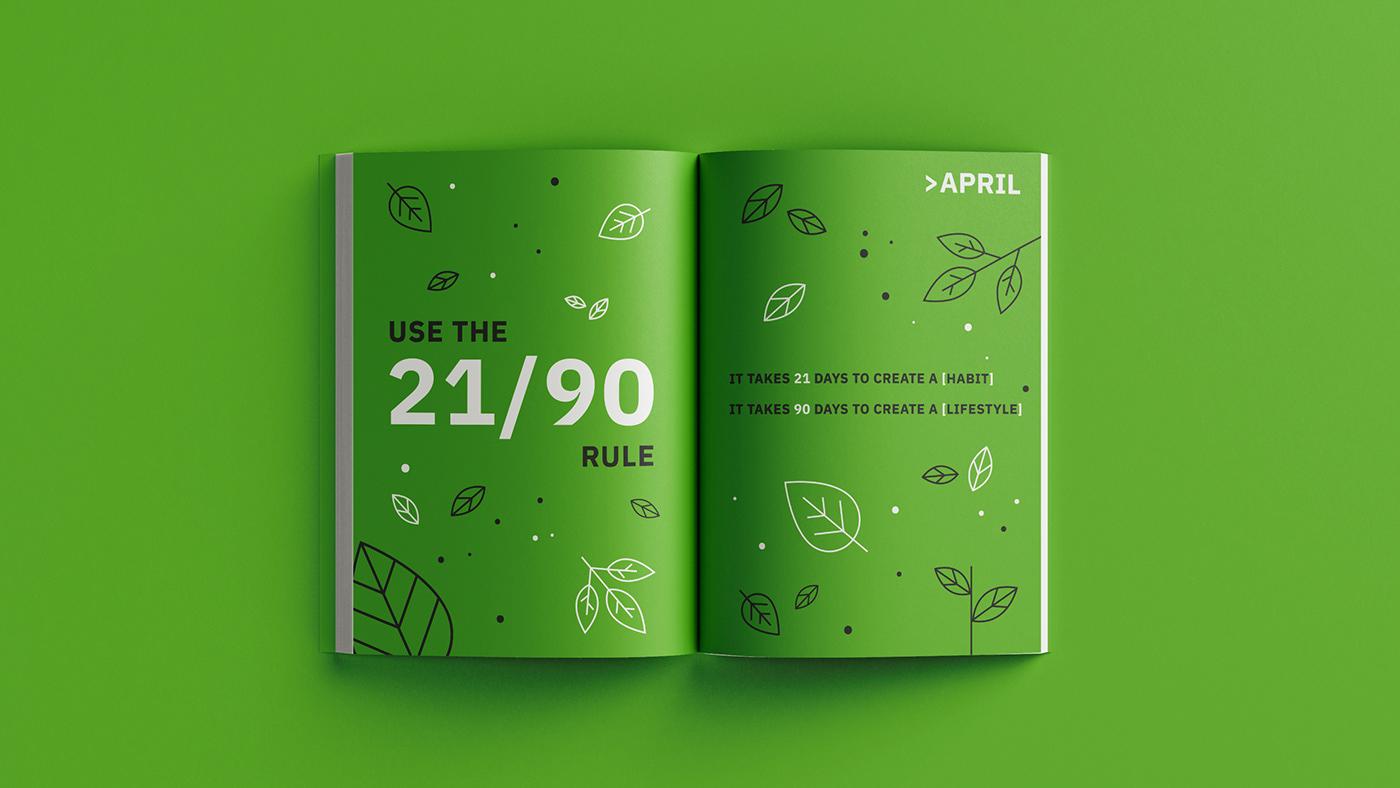 annual planner book design calendar Dairy Design Layout editorial design  graphic design  Layout print design  typography