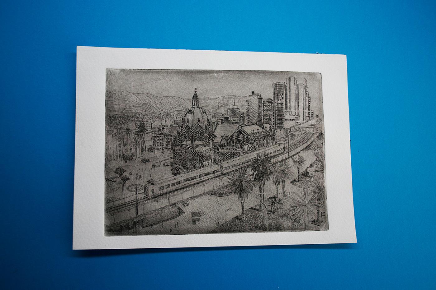 Agua Fuerte agua tinta  grabado engrave ciudad city