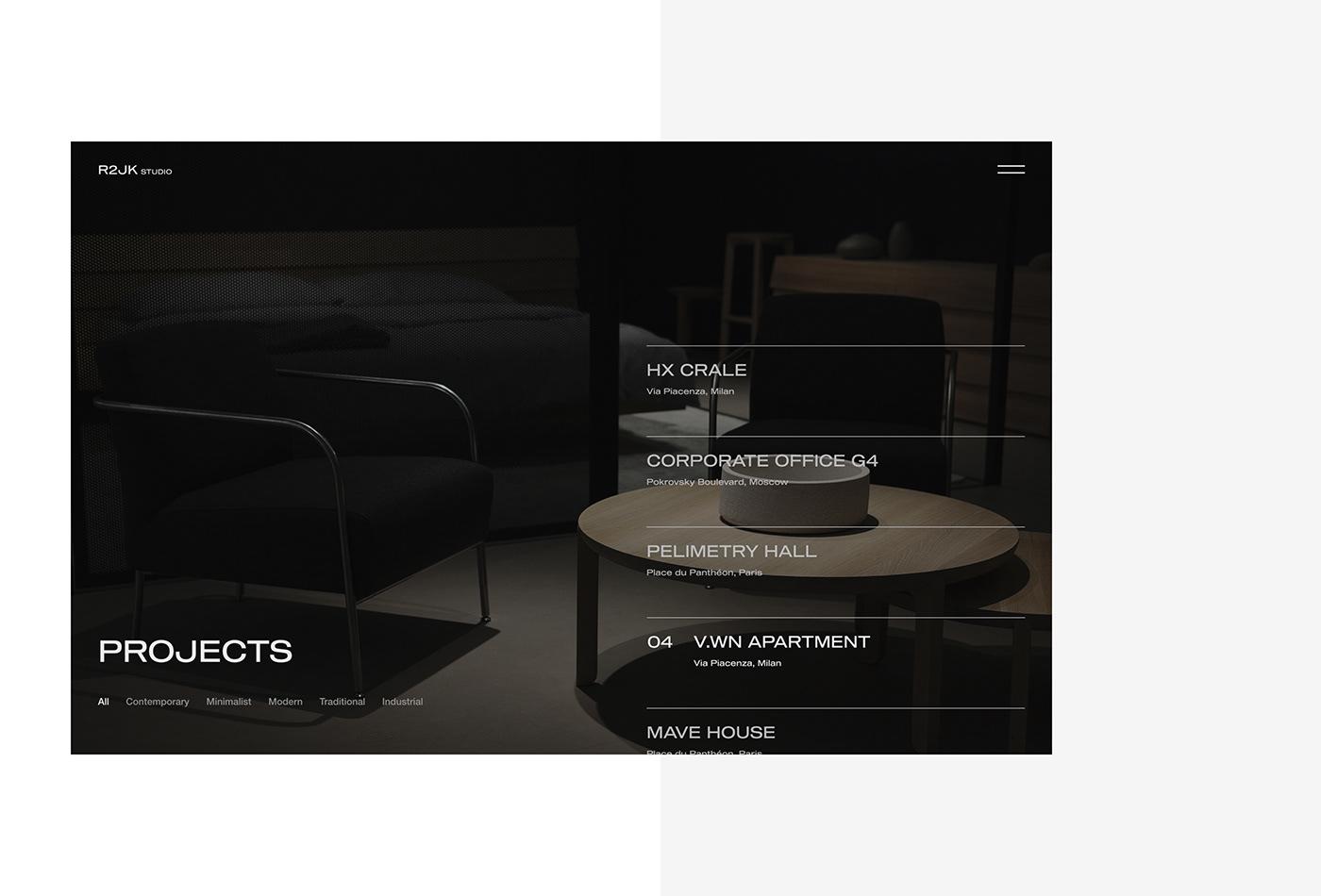 Website landing Interior furniture design studio UI/UX