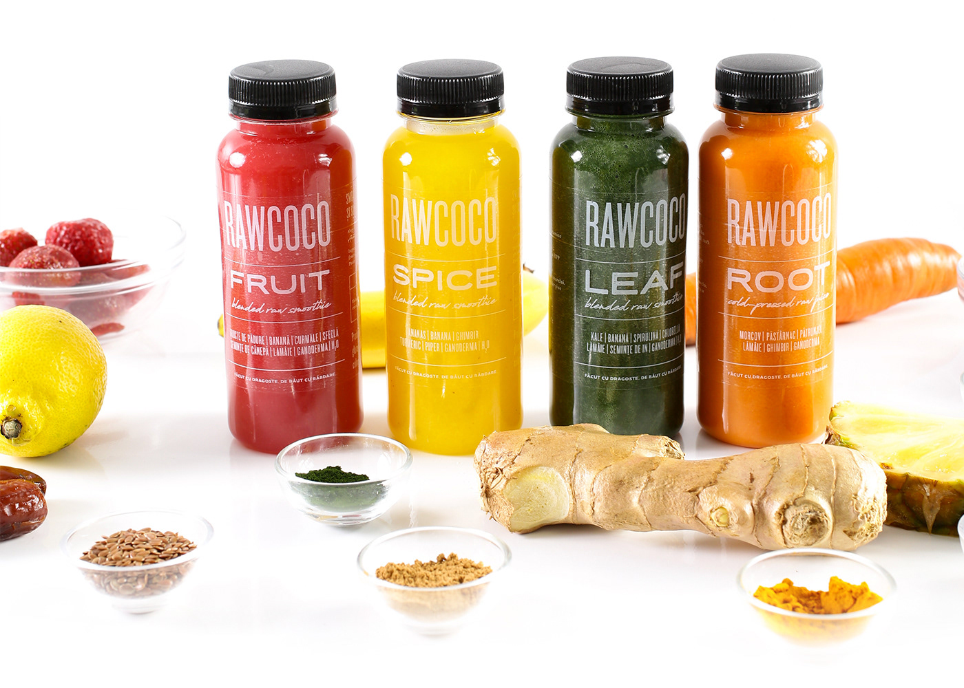 RawCoco Cold Pressed juice bottle redesign Packaging