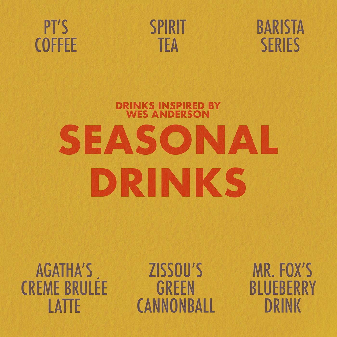 cocktails Coffee Procreate seasonal drinks tea wes anderson