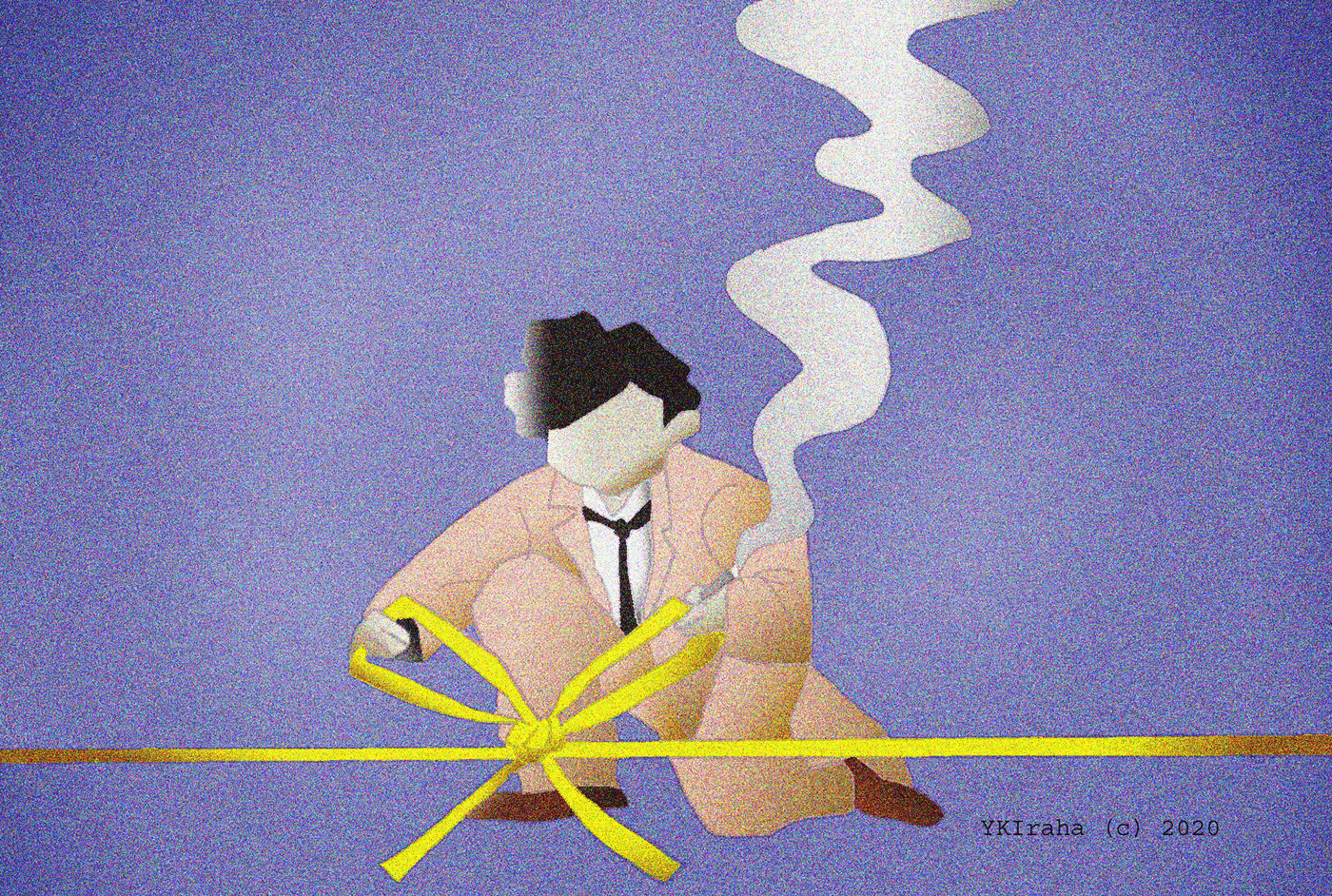 Yukio Kevin Iraha's abstract illustration on character tying up loose ends