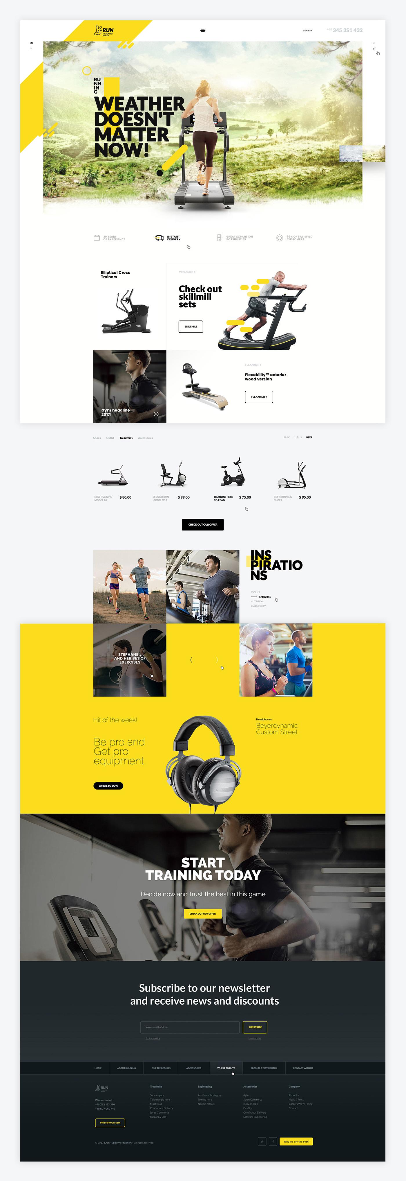 Website running jogging sport gym exercises treadmills Treadmill yellow modern