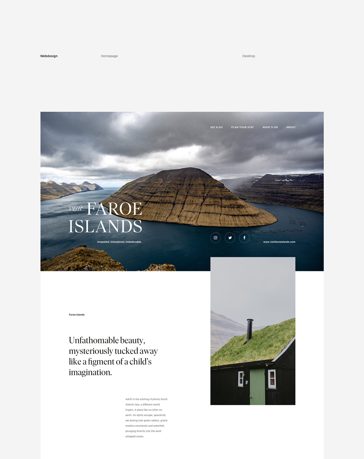elegant website design for a travel agency in the faroe islands