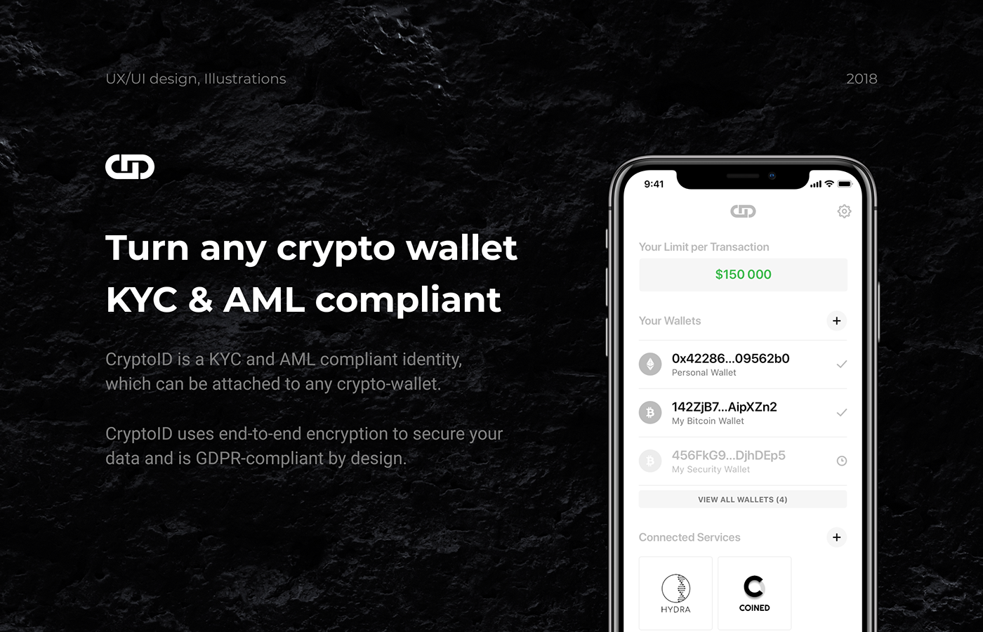 crypto cryptoid identity Minimalism black White minimal ux UI app