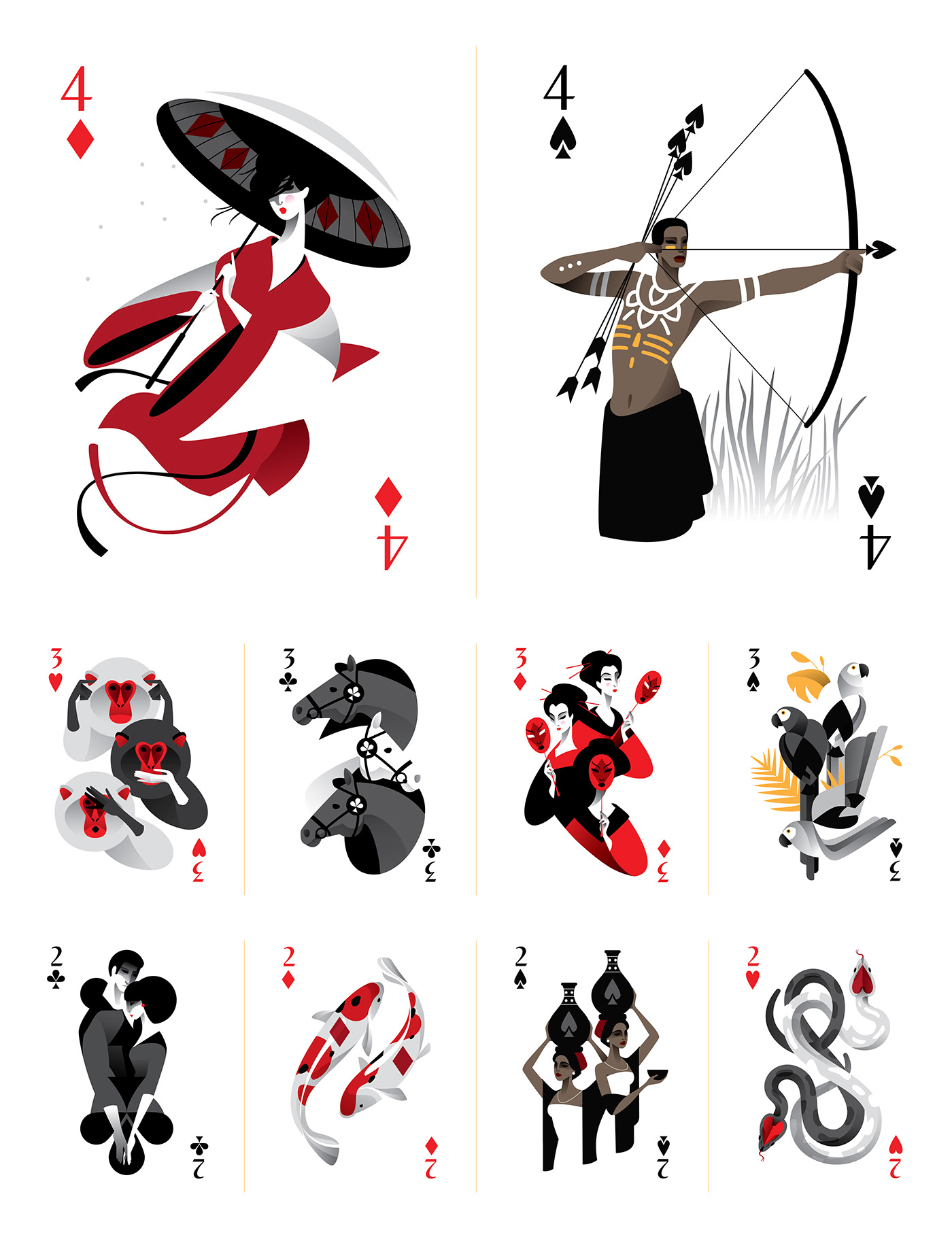 Poker Playing Cards cardistry kingdom vector art africa japan India Europe MARIA FEDOSEEVA