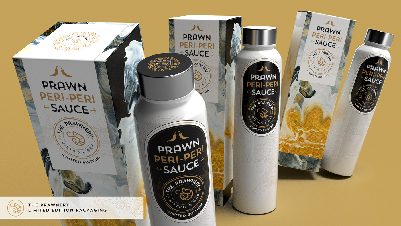 Limited edition peri-peri bottle and packaging design for The Prawnery