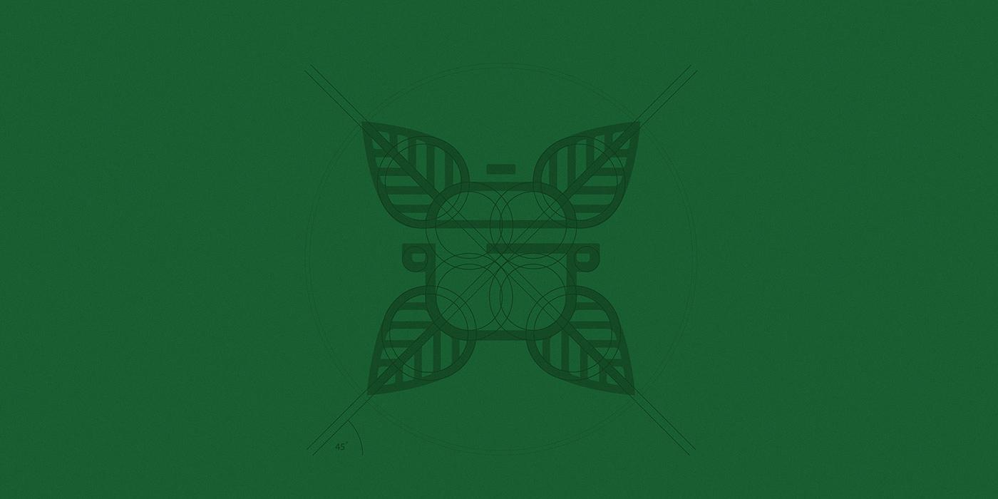 Vegan catering logo construction grid