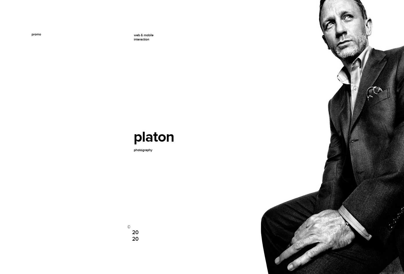 clean design interaction mobile Photography  platon simple personal Website