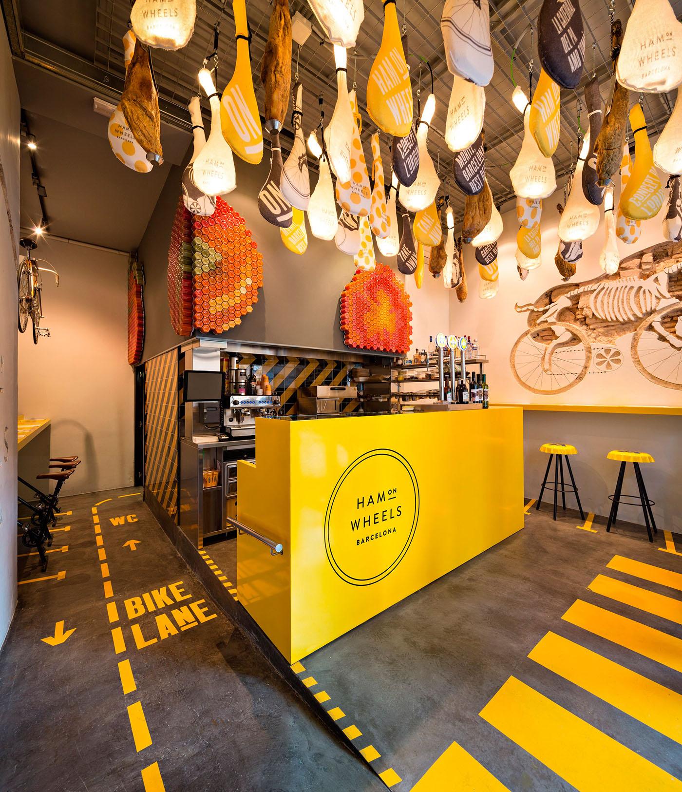 hamonwheels hamon jamon wheels restaurant fastfood premium premiumfastfood barcelona Bicycle identity yellow