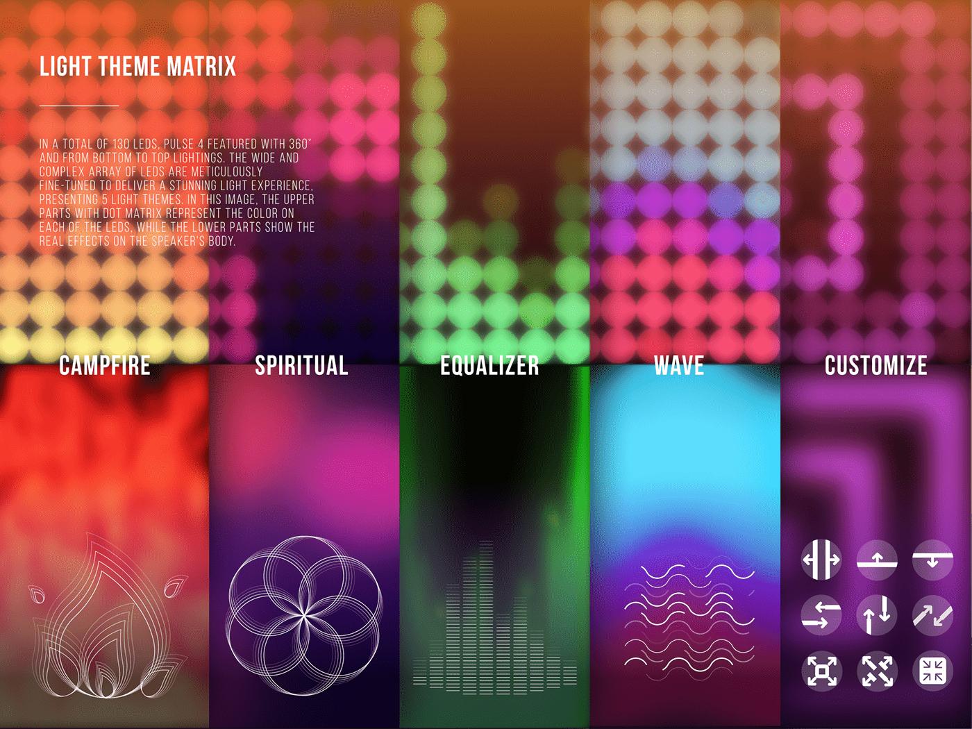 app color Interface jbl light pulse speaker