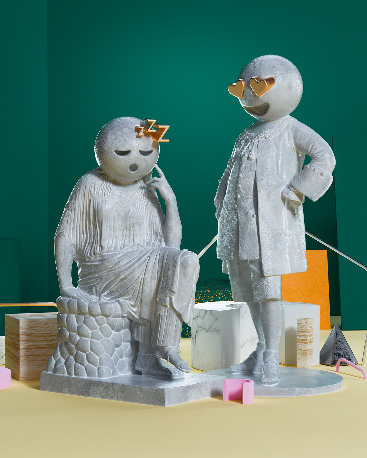 sculpture Emojis social Digital Art  cinema 4d octane sets modern concept 3D