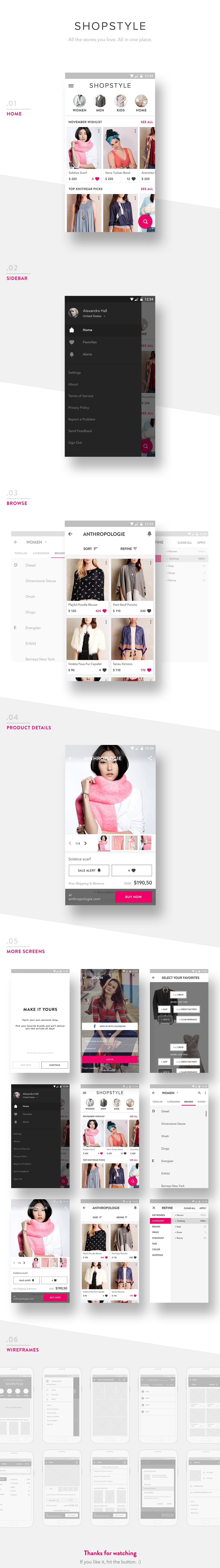 android ShopStyle material design ui design UX design app mobile design google ios9