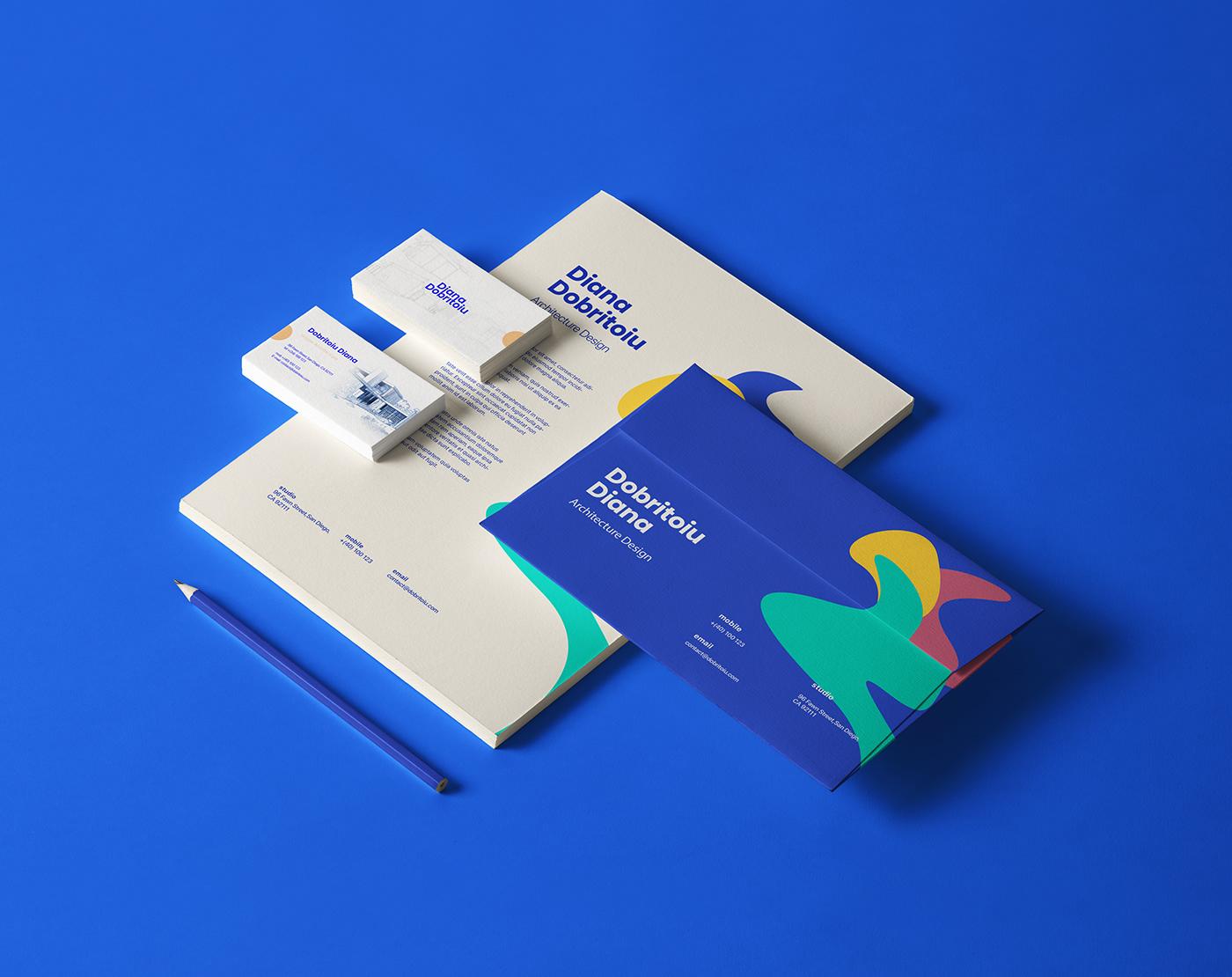 branding  modern architecture blue identity brand identity buildings Logotype Office Stationary Branding