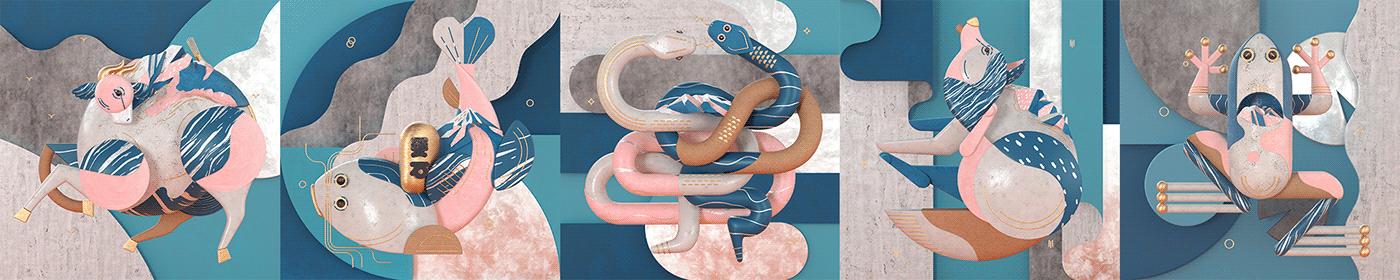 3D animals art Character dog earthquake fish graphic ILLUSTRATION  snake
