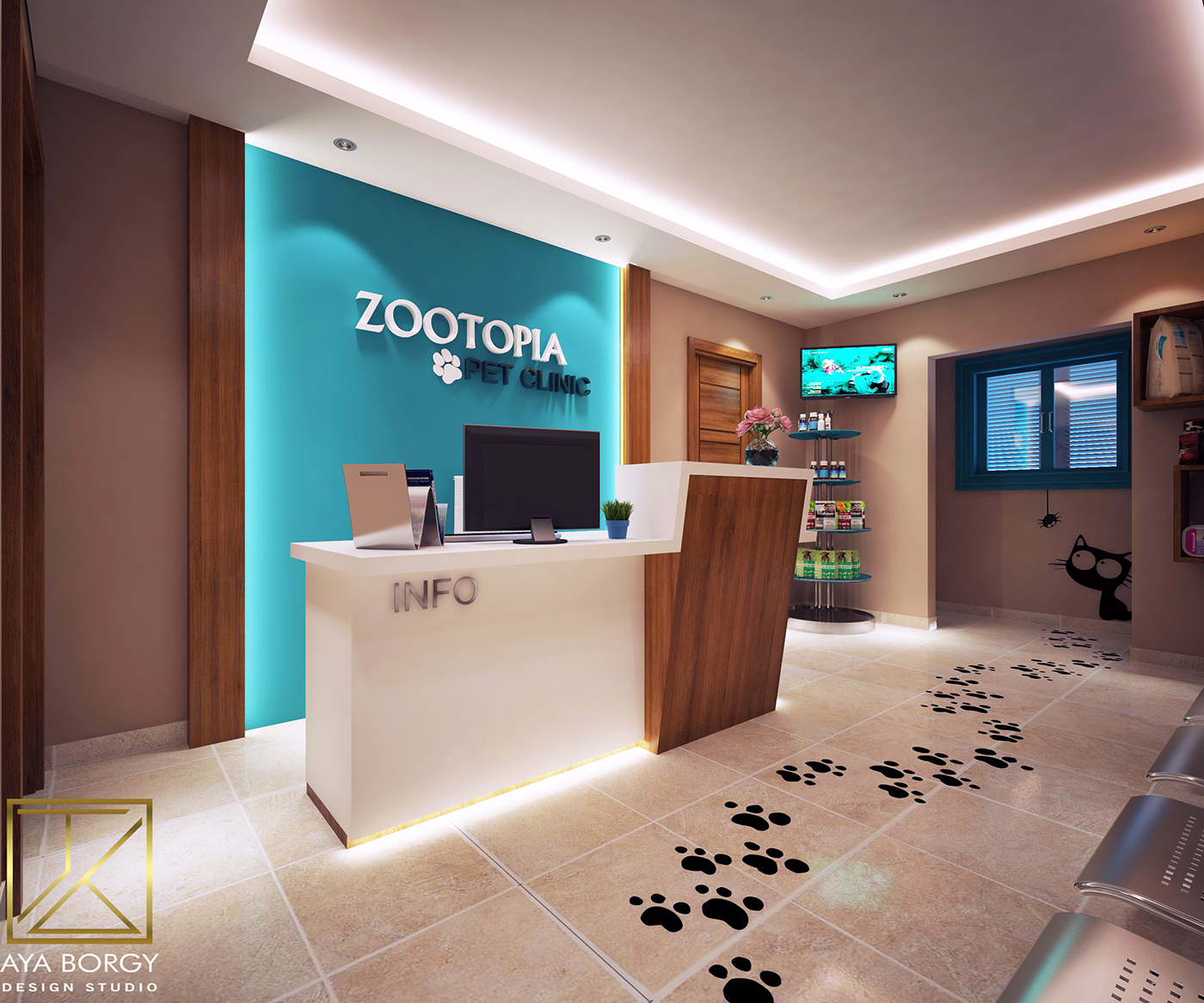 Zootopia A Modern Pet Clinic,the Client Asked For A Simple Modern Design  With A Low Cost Materials So I Used Stickers, Some Wall Colors And A Little  Wood ...