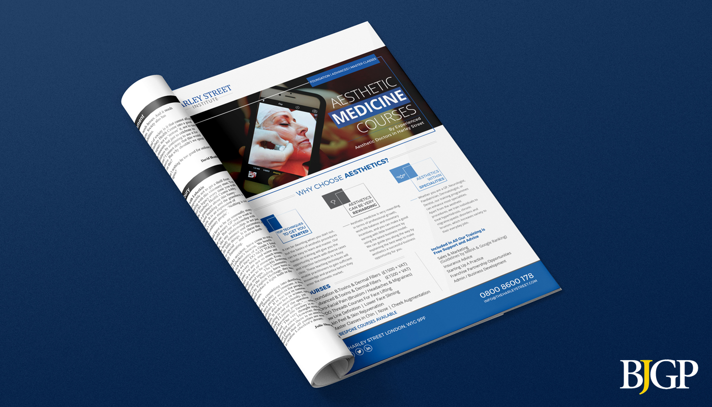 magazine flyer medical harleystreet institute educational cosmetics trainings