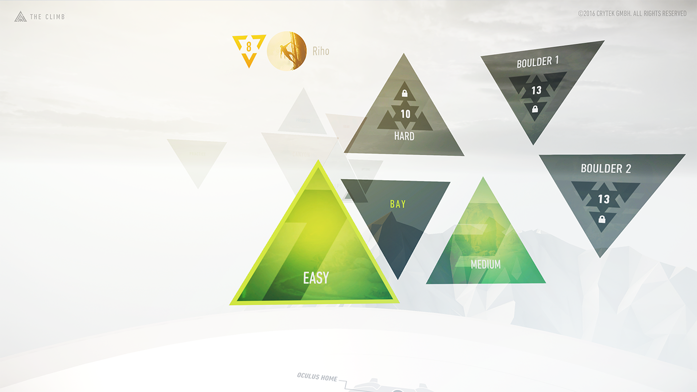 vr Virtual reality ux UI user interface crytek the climb Oculus rift