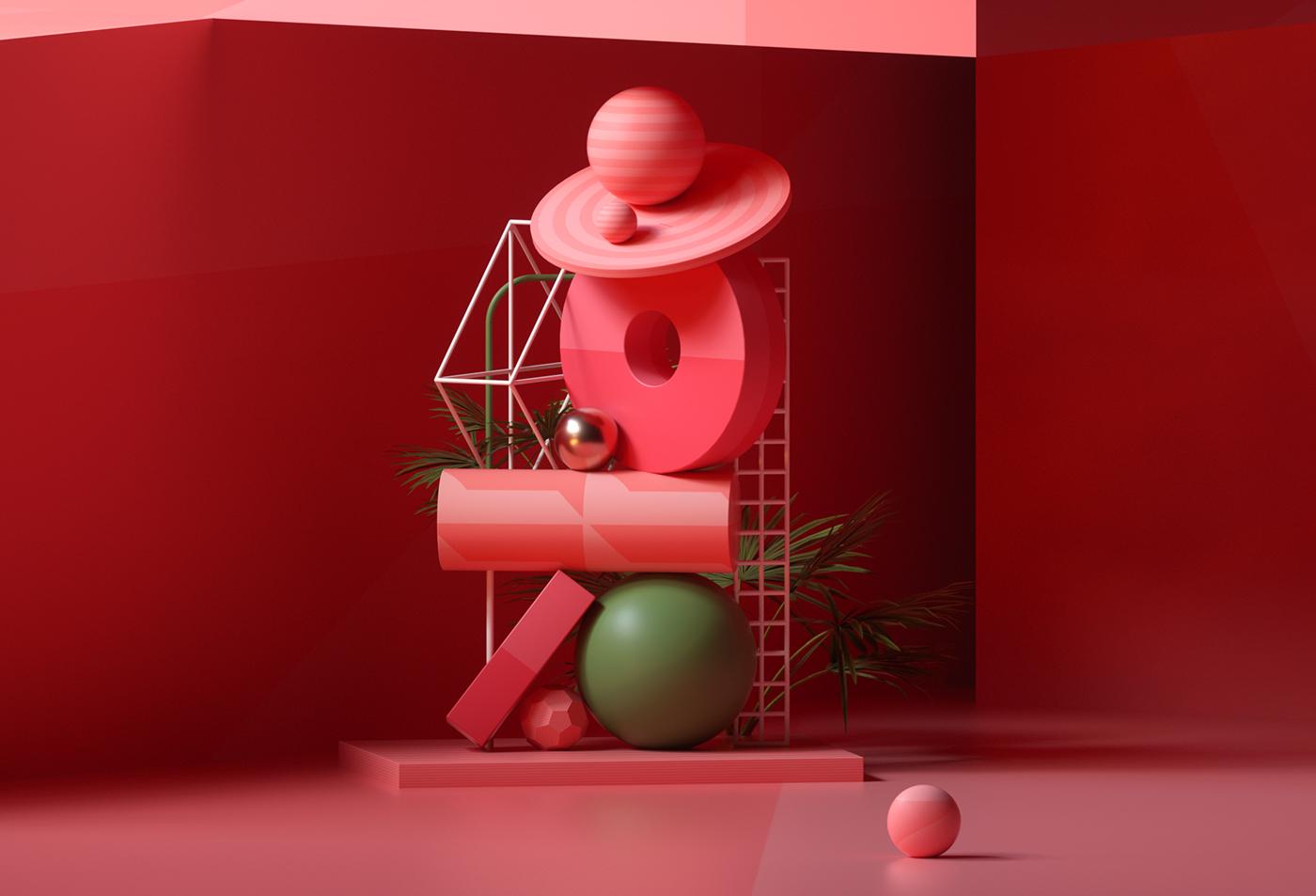 photo design Minimalism 3D architecture mirror c4d colorful