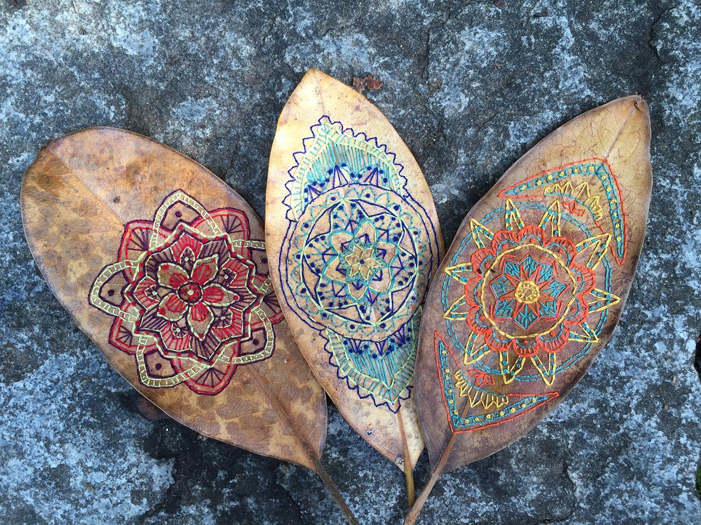 Embroidery Needlework leaf art embroidery design design fiber art textile art natural process Mandala Art detailed art