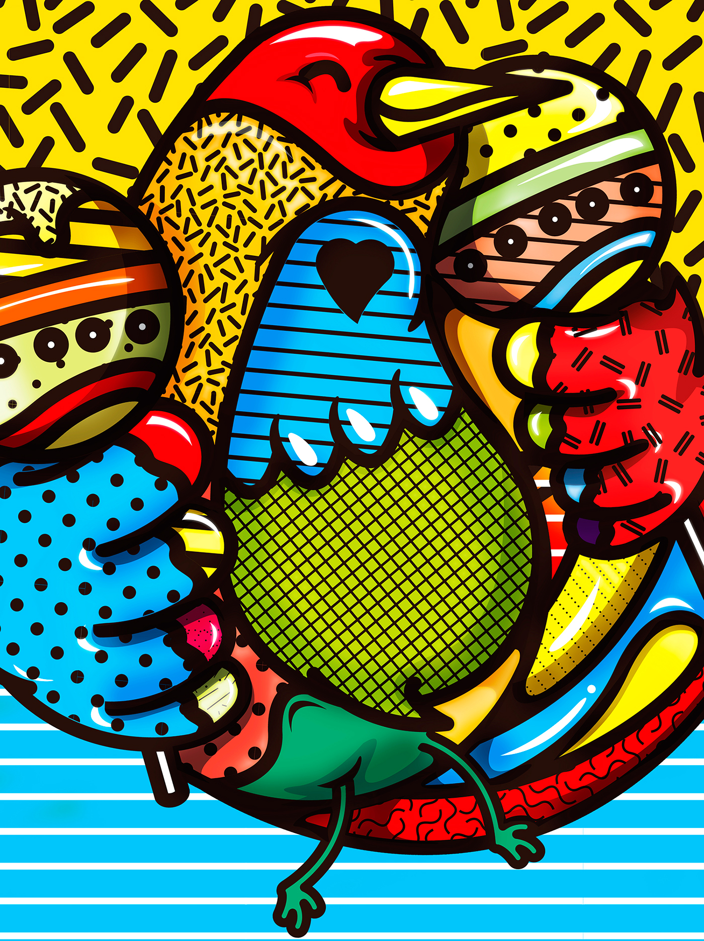 Love aves serigrafia mexico voladas rojobermelo venezuela vector artvector
